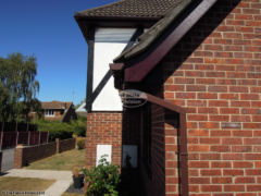 Rosewood fascia and soffit with brown square guttering