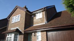 Rosewood UPVC fascia white UPVC soffit with brown square UPVC guttering