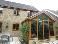 UPVC oak fascia and soffit with square guttering installation