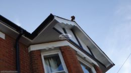 White soffit with black round gutters