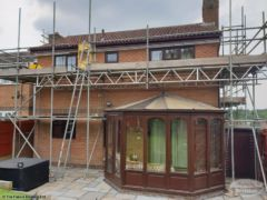 Scaffolding over conservatory
