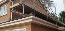 Scaffolding for gable end above extension