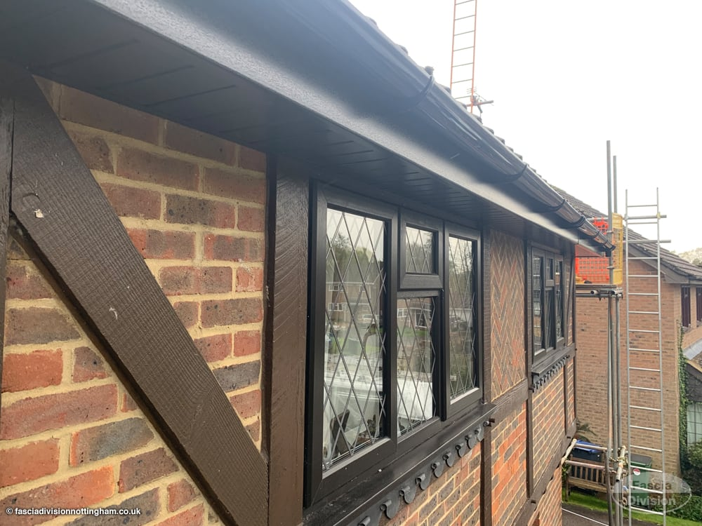 new fascias, soffits and guttering in black UPVC
