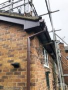 rosewood UPVC fascia and soffits with brown PVC guttering